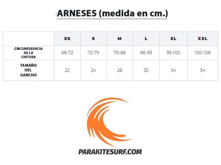 Guía de tallas y medidas para arnés de kitesurf